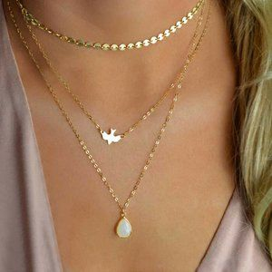 Gold Multi-Layer Dove & Water Drop Necklace